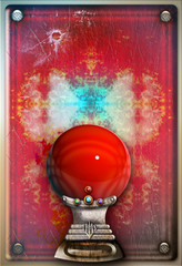 Red crystal ball in the grunge background