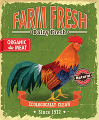 Vintage Farm fresh Chicken poster design