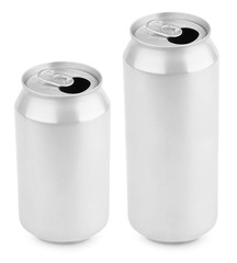 Two opened aluminum cans of beer on white with clipping path