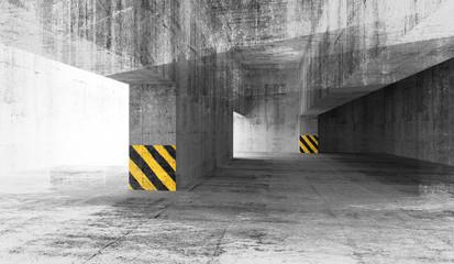 Abstract grunge concrete parking interior. 3d illustration