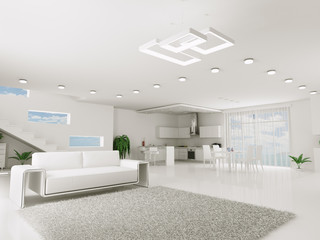 Interior of white apartment