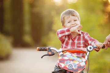 Happy boy on a bicycle in a summer park