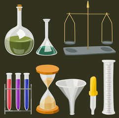 Vector cartoon chemistry laboratory objects in flat colors