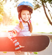 cute little girl in a helmet
