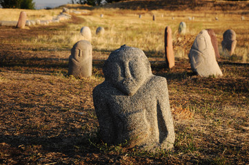 Historical stone sculptures on famous Silk road, Kyrgyzstan