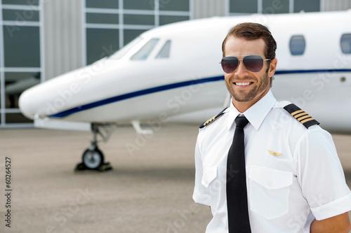Leinwanddruck Bild Confident Pilot Smiling