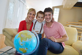 family have fun with globe