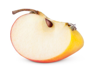 Closeup of red yellow apple slice on white with clipping path