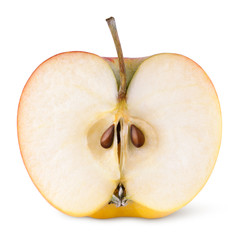 Closeup of red yellow apple half on white with clipping path