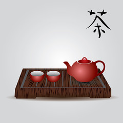 red china teapot and tea cups eps10