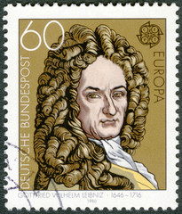 GERMANY - 1980: shows Gottfried Wilhelm Leibniz (1646-1716)