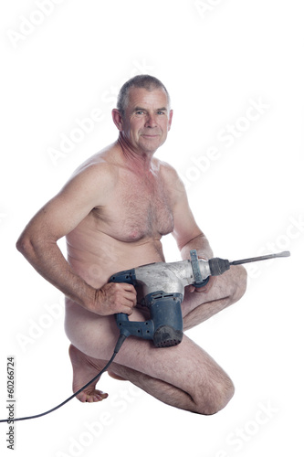 caucasian male with power tool