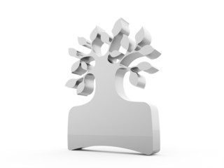 Abstract silver tree business concept