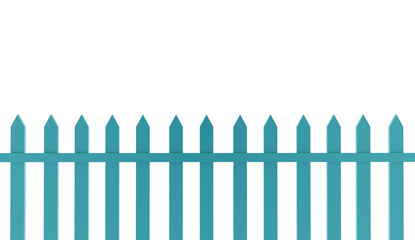 Blue vintage fence rendered on white