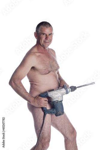 caucasian naked man with power tool