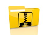 file folder with zip file sign