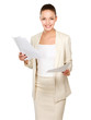 Portrait of a happy business woman holding papers
