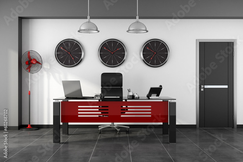 Red and black modern office
