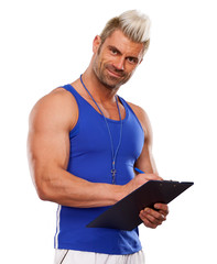 Personal Trainer, with a pad in his hand, isolated in white