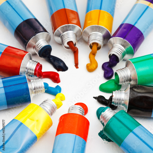 multicolored tubes with squeezed watercolors
