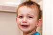 Portrait Of Crying Baby Boy In Home.