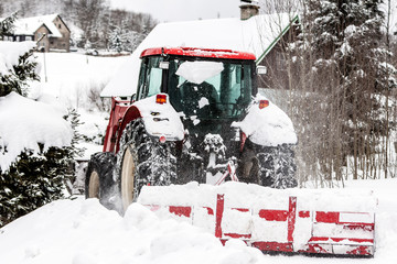 Snowblower On Road In Bedrichov