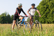 Sporty Couple On Mountan Bike