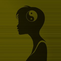 woman silhouette with ying yang inside
