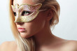 Beautiful Blond Woman in Carnival Mask.Stranger Sexy Girl