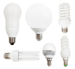 energy-saving compact fluorescent, LED light bulbs
