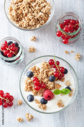 healthy breakfast with yogurt granola and berry