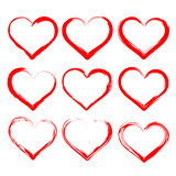 hearts set cartoon vector  illustration