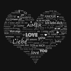 Cœur avec des mots d'amour
