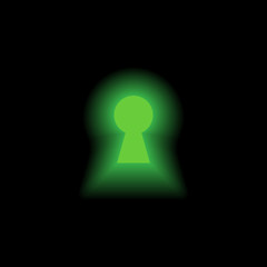 Keyhole with green light