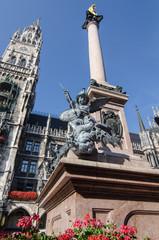 The Statue in Marien Platz. Munich. Germany