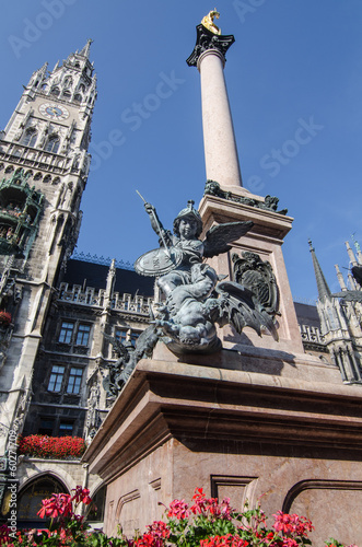 The Statue in Marien Platz. Munich. Germany