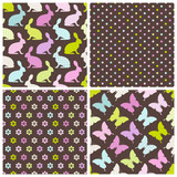 4 Seamless Pattern Easter Bunny & Butterfly Dark Pastel