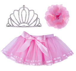Collage of pink skirt for girl, crown and hair bow