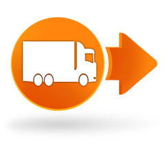 poids lourd camion sur symbole web orange