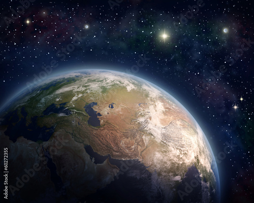 Planet Earth and stars