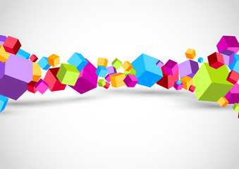 Colorful cubes 3D background © phyZick