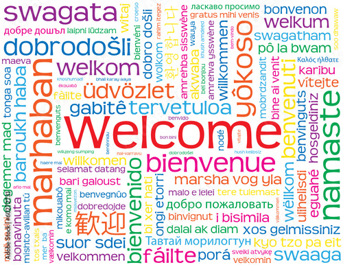 """WELCOME"" Card (sign customer service courtesy smile reception)"