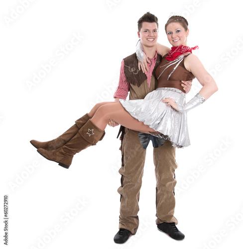 Tanzendes Faschingspaar an Karnival isoliert