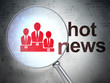 News concept: Business Team and Hot News with optical glass