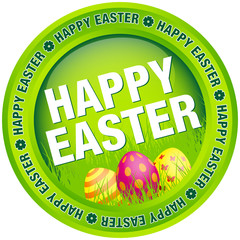 "Button ""Happy Easter"" Eggs Green"