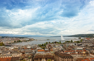 view of Geneva, Leman Lake and Water Jet, in Switzerland