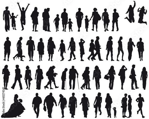 Set Menschen - silhouette - schwarz - vektor - 60274341
