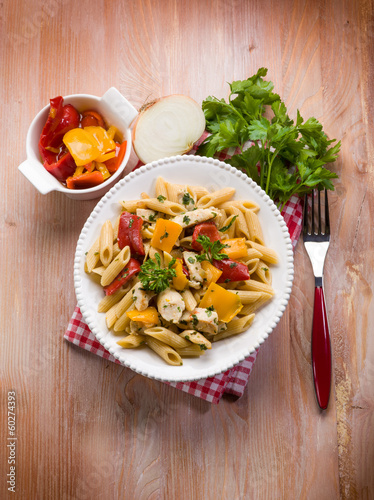 pasta with chicken and capsicum