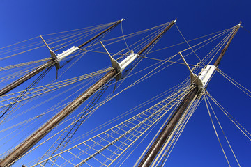 large masts of old sailing ship