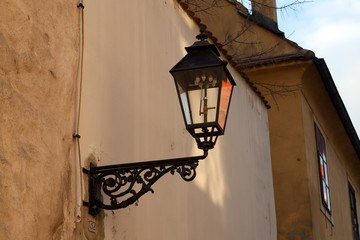 Old gas lamp on the wall in Zagreb, Croatia